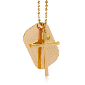 Classy Men Gold Lord's Prayer Cross Pendant Necklace