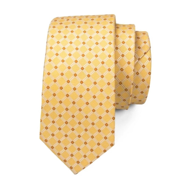 Classy Men Gold Red Polka Dot Silk Tie