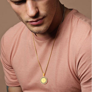 Man Wearing The Gold Serenity Prayer Pendant Necklace