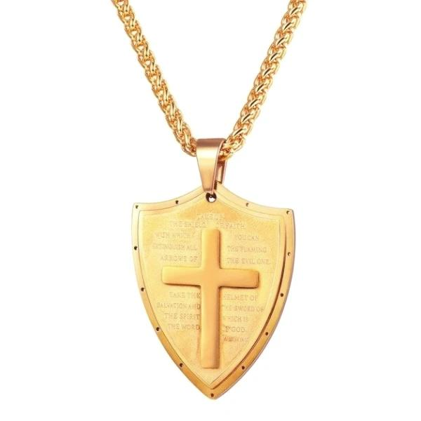 Gold shield of faith pendant necklace with a cross and prayer