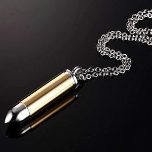 Mens bullet pendant necklace in gold and silver color