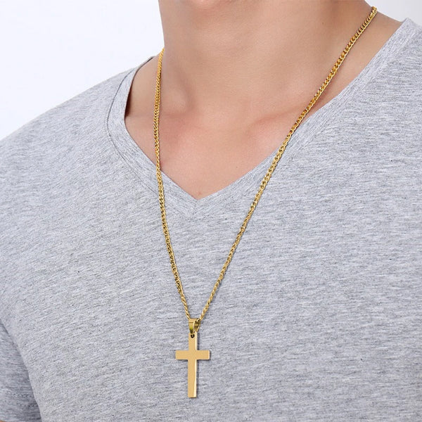 Classy Men Gold Small Christian Cross Pendant Necklace