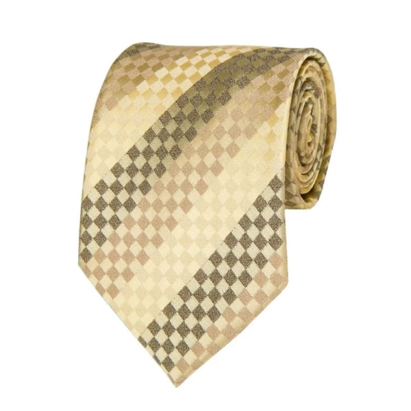 Classy Men Gold Square Striped Silk Tie