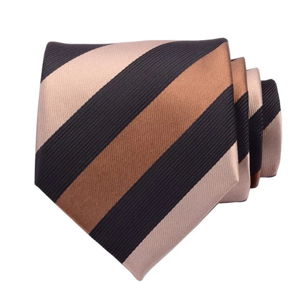 Classy Men Black & Gold Striped Silk Necktie - Classy Men Collection