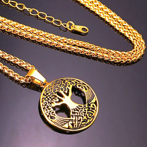 Classy Men Gold Tree Of Life Pendant Necklace