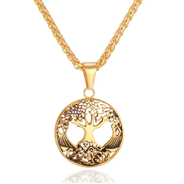 Gold Tree of Life pendant hanging on a chain necklace