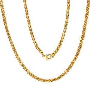 Classy Men 4mm Gold Braided Wheat Chain Necklace