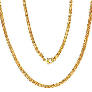 Classy Men 10mm Gold Braided Wheat Chain Necklace