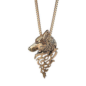 Gold wolf pendant necklace for men