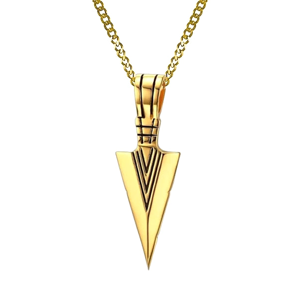 Mens Gold Arrowhead Pendant On A Gold Chain Necklace