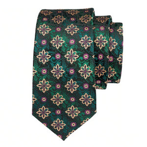 Green & black floral pattern necktie made of silk