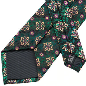 Details of the backside of the green & black floral tie