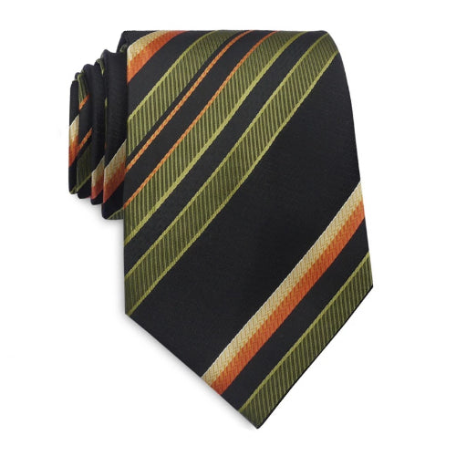 Classy Men Green Black Striped Silk Tie