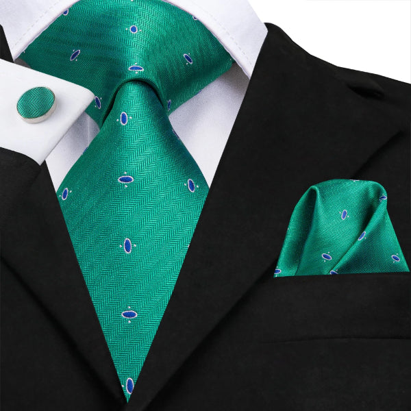 green dot novelty silk tie set on a suit