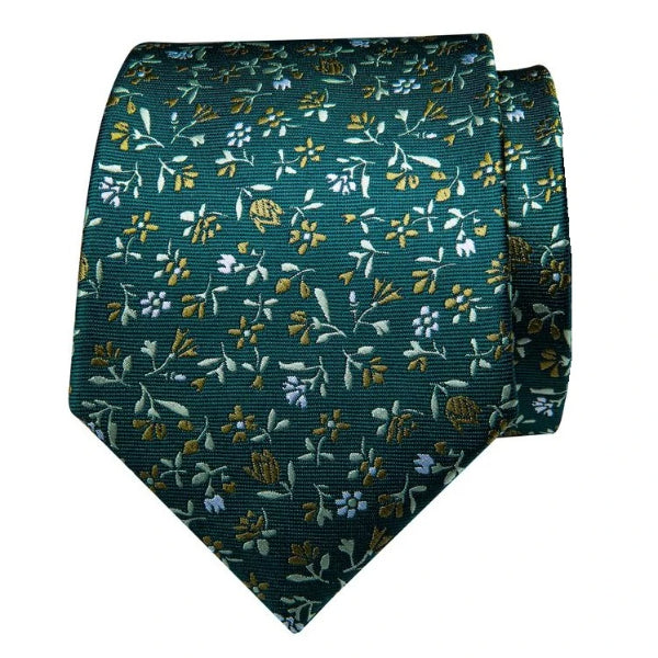 Green silk tie with white and gold flowers