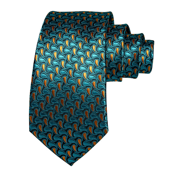Teal & gold silk necktie with small repetitive paisley pattern