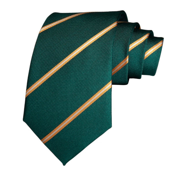 Classy Men Green Gold Striped Silk Tie