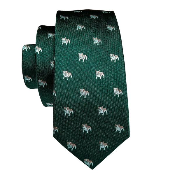Green novelty puppy tie made of silk