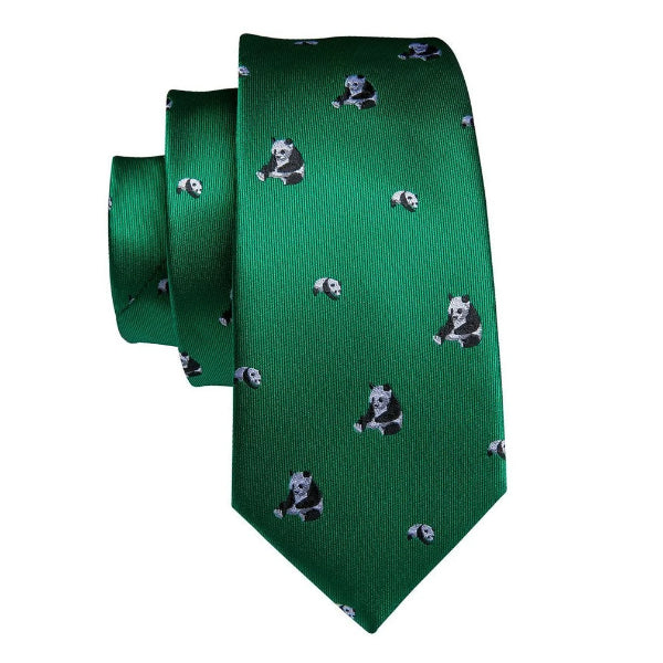 Green novelty panda tie made of silk