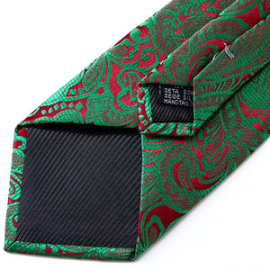 Details of the backside of the green & red floral tie