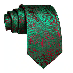 Green & red floral silk tie