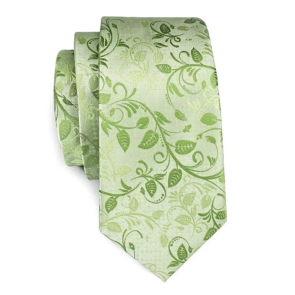 Green rose leaf floral necktie made of silk