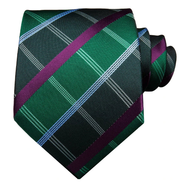Green tartan tie made of silk