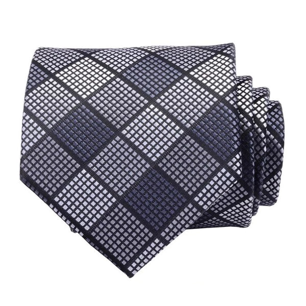 Classy Men Grey Checkered Silk Necktie