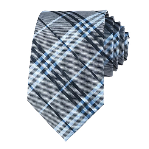 Classy Men Grey Light Blue Plaid Silk Tie