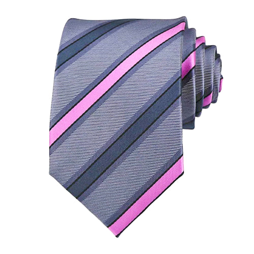 Classy Men Grey Pink Striped Silk Tie