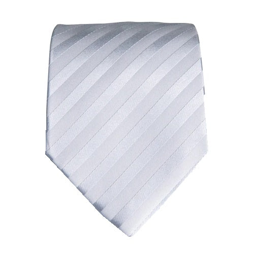 Classy Men Grey Silver Striped Silk Tie