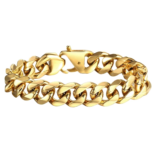 Classy Men Gold Heavy Cuban Link Chain Bracelet