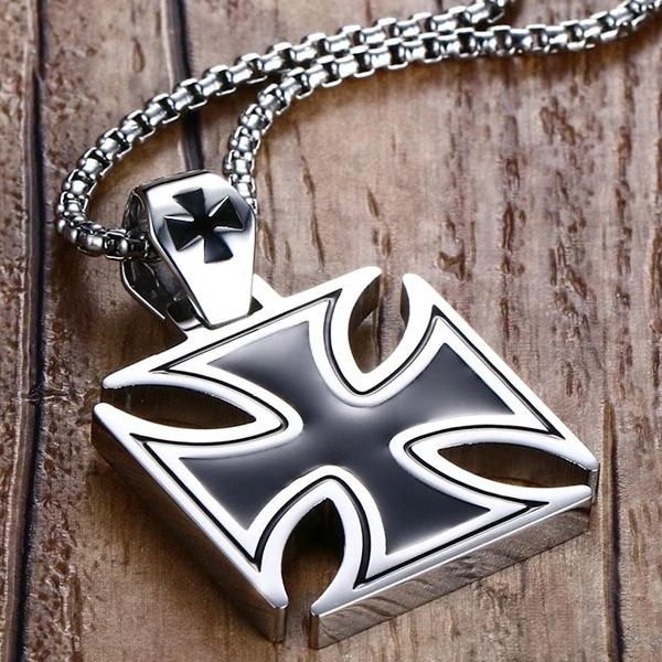 Classy Men Iron Cross Pendant Necklace