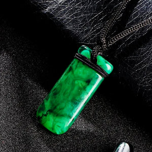 Classy Men Jade Green Resin Pendant Necklace