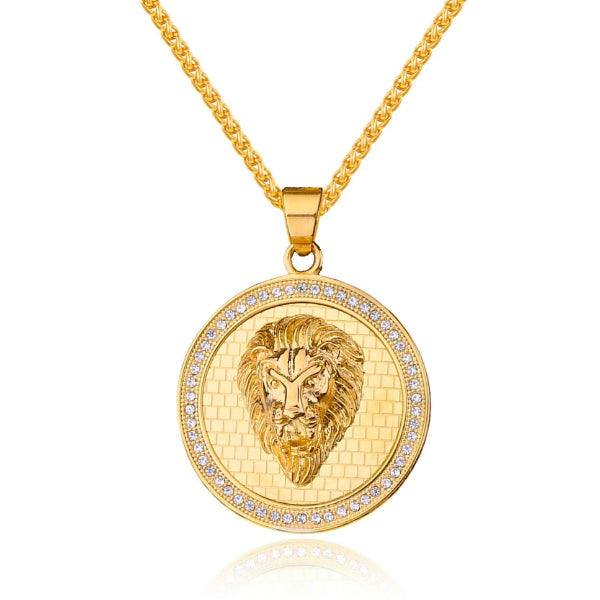 Large golden lion coin hanging from a gold chain