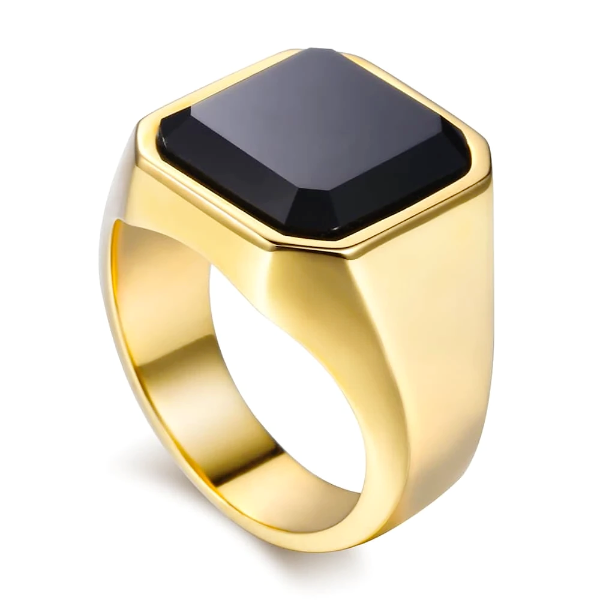Gold ring with square shaped black zirconia on top