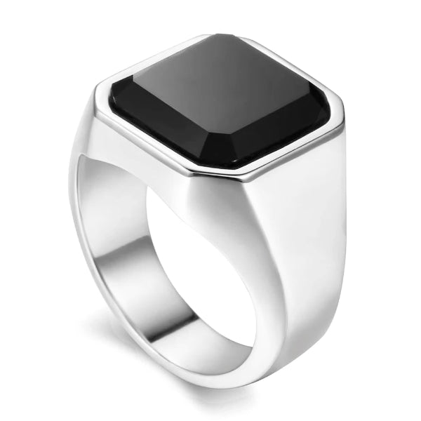Silver ring with square shaped black zirconia on top