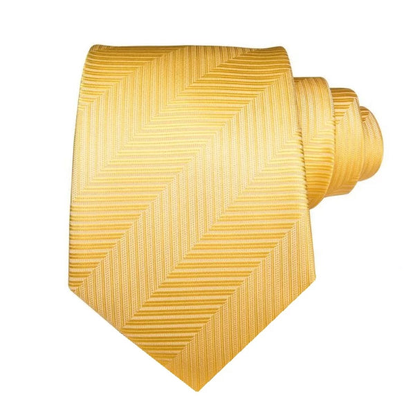 Classy Men Light Striped Gold Silk Tie