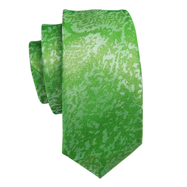 Lime green colored camouflage pattern silk necktie made of silk