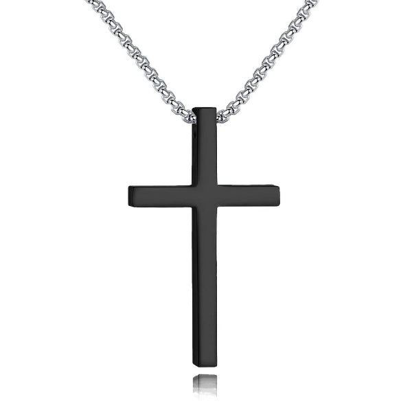Classy Men Long Black Cross Pendant Necklace