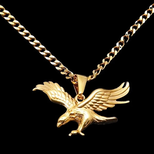 Classy Men Gold Hunting Eagle Pendant Necklace