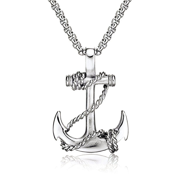 Silver anchor pendant necklace for men