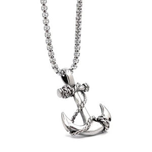 Stainless steel anchor pendant necklace for men