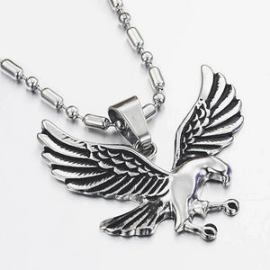 Classy Men Silver Eagle Pendant Necklace