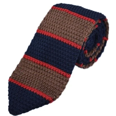 Classy Men Knitted Tie Navy/Brown - Classy Men Collection
