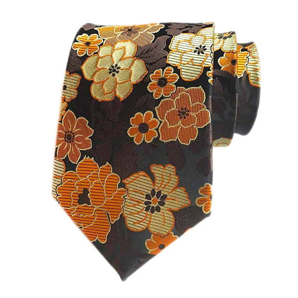 Classy Men Orange Brown Floral Silk Tie