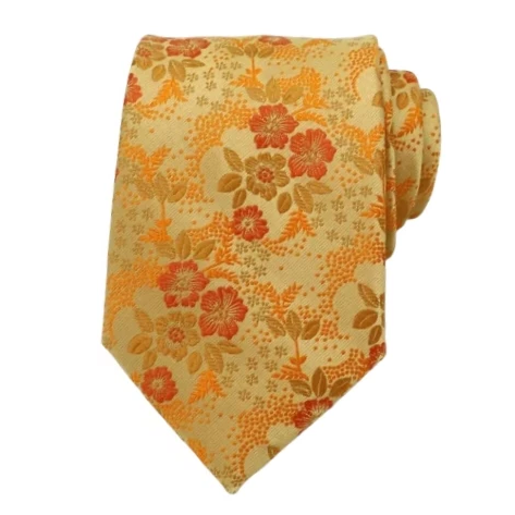Classy Men Orange Floral Silk Tie