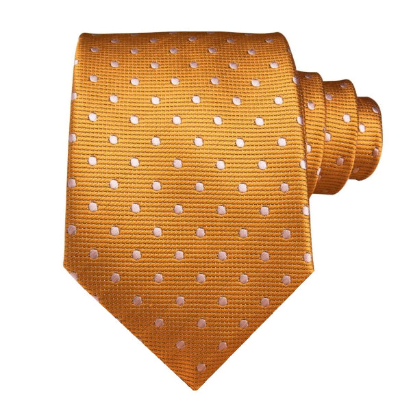 Classy Men Orange White Polka Dot Silk Tie