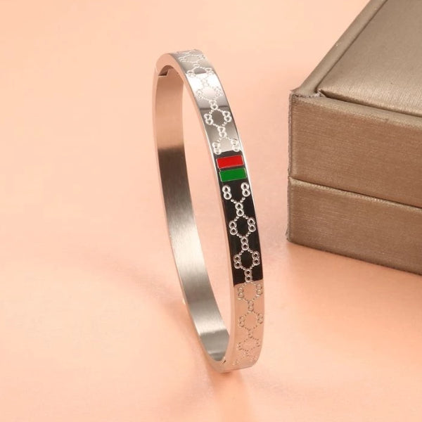 Classy Men 8mm Silver Luxury Bangle Bracelet