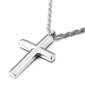Classy Men Rounded Silver Cross Pendant Necklace